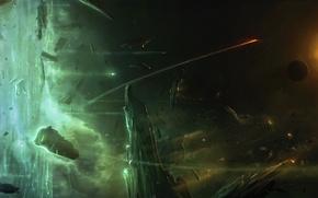 Картинка космос, камни, звезда, планеты, корабли, астероиды, арт, метеориты, Elite, Dangerous, Ashley Barley
