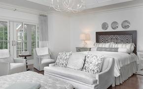 Обои белый, дизайн, стиль, диван, кровать, кресла, зеркала, спальня