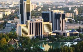 Картинка деревья, город, здания, столица, бизнес центр, Узбекистан, Ташкент