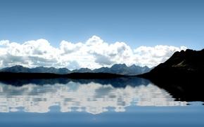 Обои волны, отражение, горы, облака, Вода