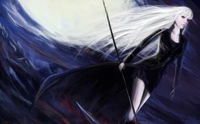 Картинка взгляд, девушка, арт, черное платье, белые волосы