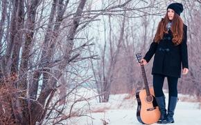 Картинка girl, snow, guitare