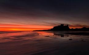 Картинка замок, Англия, зарево, Бамборо