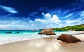 Картинка море, небо, облака, камни
