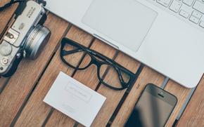 Картинка очки, фотоаппарат, iphone, macbook, айфон, макбук, визитка