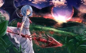Картинка небо, девушка, облака, пейзаж, закат, природа, оружие, магия, крылья, аниме, арт, копьё, touhou, remilia scarlet, …