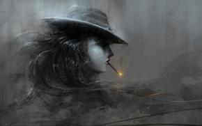 Картинка девушка, огонь, шляпа, арт, сигарета, профиль, черно-белое