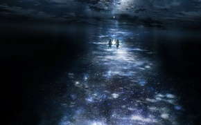 Обои лунная дорожка, ночь, звезды, дети