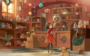 Картинка кошка, игрушки, часы, книги, аквариум, рыбка, копилка, девочка, банки, шляпка, сумка, фонарики, магазин, продавец, подвески