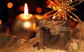 Картинка огни, праздник, подарок, новый год, свеча, лента, декорации, снежинка, happy new year, christmas decoration, новогодние …
