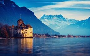 Картинка горы, город, Швейцария, Женевское озеро