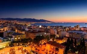 Картинка море, пейзаж, закат, горы, ночь, огни, побережье, дома, Турция, İzmir