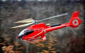 Картинка полет, легкий, размытость, вертолет, самый, боке, Eurocopter, одномоторный, транспортный, бесшумный, производитель, EC130, walllpaper., в своем, …