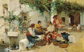 Обои картина, жанровая, Продажа Дыни, Хоакин Соролья, люди, город, дом, торговля