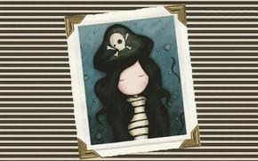Картинка полоска, шляпа, рамка, ракушки, пиратка, черные волосы, тельняшка, закрытые глаза, Череп и кости