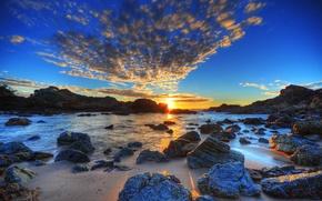 Обои море, камни, природа, пейзаж, закат