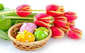 Картинка яйца, весна, пасха, тюльпаны, Easter