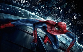 Обои The Amazing Spider-Man, нью йорк, Новый Человек-паук, ночь, город, паук