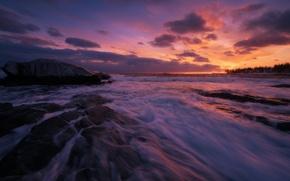 Картинка waves, rock, coast, sunset