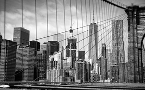 Обои Manhattan, черно-белое, Brooklyn Bridge, New York City, Brooklyn, здания