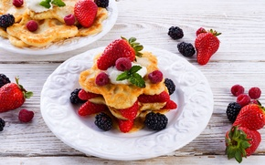 Картинка ягоды, еда, фрукты, блины, food, ежевика, fruit, sweet, dessert, blackberry, pancakes, strawberries, сладкие, десерты