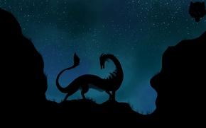 Обои дракон, звезды, хвост, ночь, силуэт