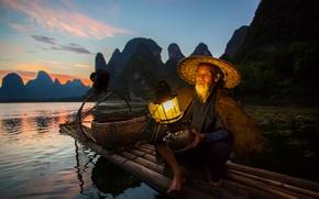 Картинка птица, лодка, рыбак, фонарь, Китай, баклан, район Гуанси-Чжуанск, река Гуйцзян