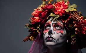 Картинка девушка, цветы, лицо, раскрас, dia de los muertos, день мёртвых