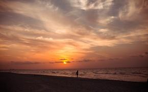 Картинка море, пляж, закат, природа, силуэт, Куба