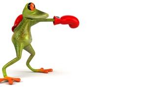 Картинка графика, лягушка, бокс, перчатка, Free frog 3d