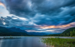 Картинка небо, облака, горы, река, Канада, панорама, Canada, British Columbia, Британская Колумбия, Columbia River, Скалистые горы, …