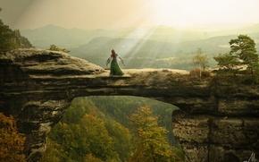 Картинка свобода, девушка, солнце, природа