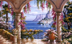 Картинка картина, живопись, painting, Sung Kim, Italian coast, evening in Capri