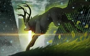 Картинка трава, листья, снег, животное, здания, арт, рога, руины, романтика апокалипсиса, romantically apocalyptic, солнечный свет, alexiuss