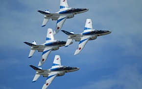 Картинка праздник, группа, пилотажная, Blue Impulse, Kawasaki T-4