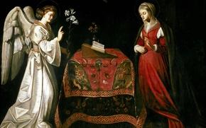 Картинка ангел, картина, религия, Благовещение, Луи Финсон