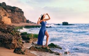 Картинка девушка, берег, платье, прибой, шляпка, ножка, Zachar Rise, Maris
