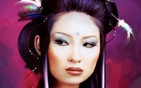 Картинка перья, гейша, лицо, прическа, макияж, япония, девушка, звезда, женщина, глаза, азиатка