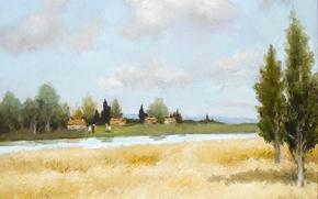 Картинка поле, деревья, пейзаж, дома, картина, Марсель Диф, Пшеница и река