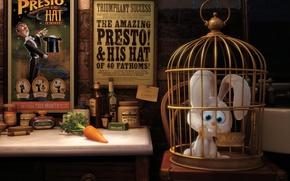 Обои pixar, плакаты, морковка, заяц, presto, клетка