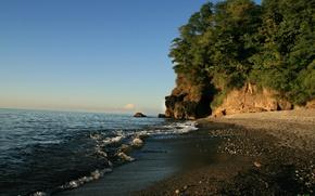 Картинка песок, волны, зелень, закат, природа, Море