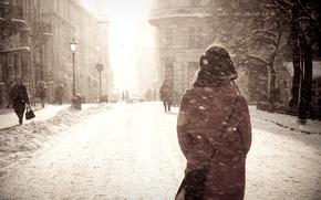 Картинка зима, девушка, снег, город, метель