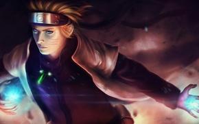 Картинка свечение, сфера, Naruto, anime, art, Naruto Shippuuden