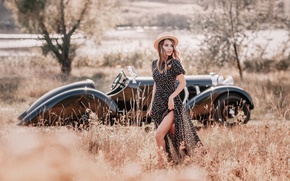 Картинка авто, девушка, ретро, шляпа, платье