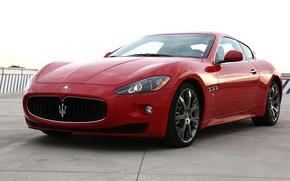 Картинка авто, красное, Maserati, GranTurismo