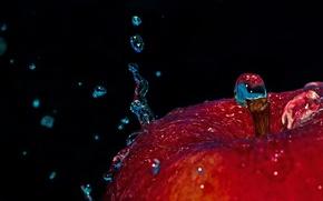Картинка вода, капли, макро, яблоко, всплеск