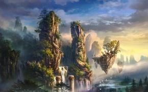 Обои облака, деревья, пейзаж, горы, птицы, туман, скалы, остров, водопад, арт, колонны