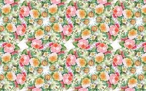 Картинка цветы, узор, розы, букет, бутоны