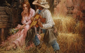 Обои двое, гитара, любовь, цветы, свидание