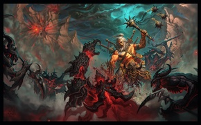 Картинка тьма, воин, битва, демоны, blizzard, rpg, diablo 3, варвар, barbarian, Reaper of Souls, Diablo 3: …